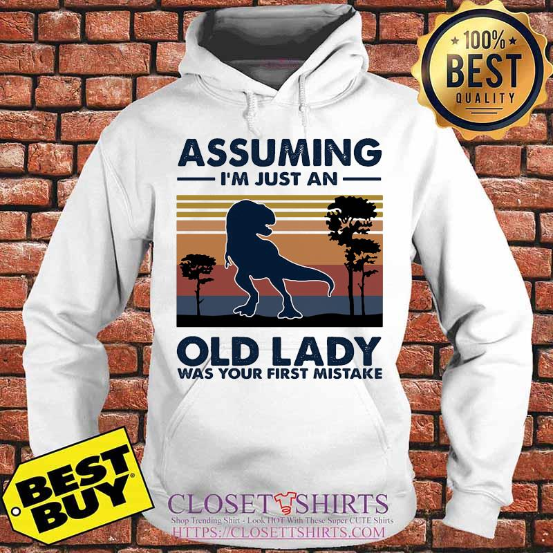 Dinosaur assuming i'm just an old lady was your first mistake vintage retro s Hoodie