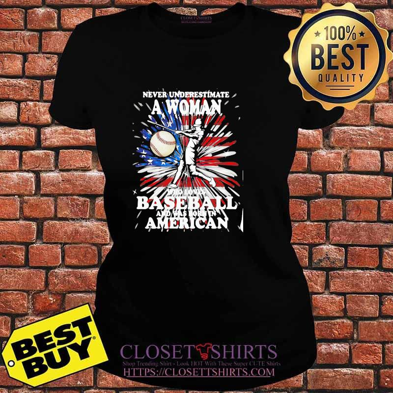 Never Underestimate A Woman Who Loves Baseball And Was Born In American Flag Shirt V-neck