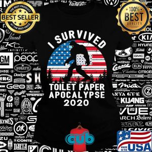 Bigfoot wear mask i survived toilet paper apocalypse 2020 american flag vintage s Ladies tee