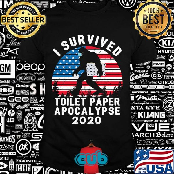 Bigfoot wear mask i survived toilet paper apocalypse 2020 american flag vintage shirt