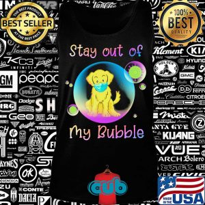 Golden retriever stay out of my bubble coronavirus mask covid-19 s Tank top