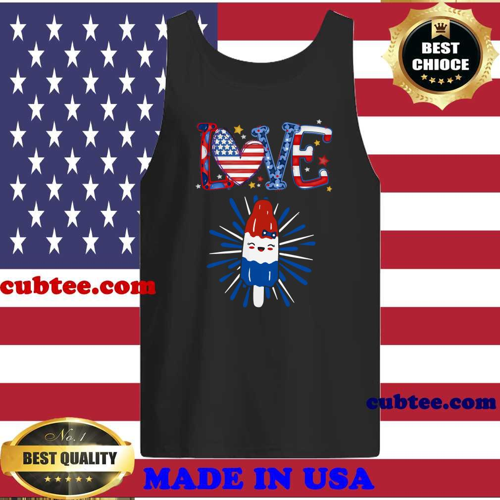 Love ice cream flavor patriotic USA flag 4th of July shirt