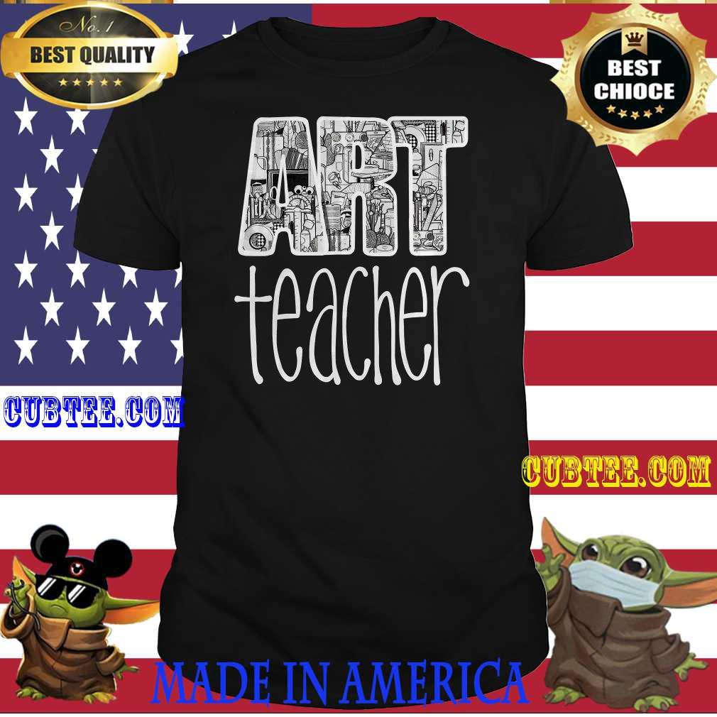 Art Teacher Supplies Doodle Line Drawing T-Shirt