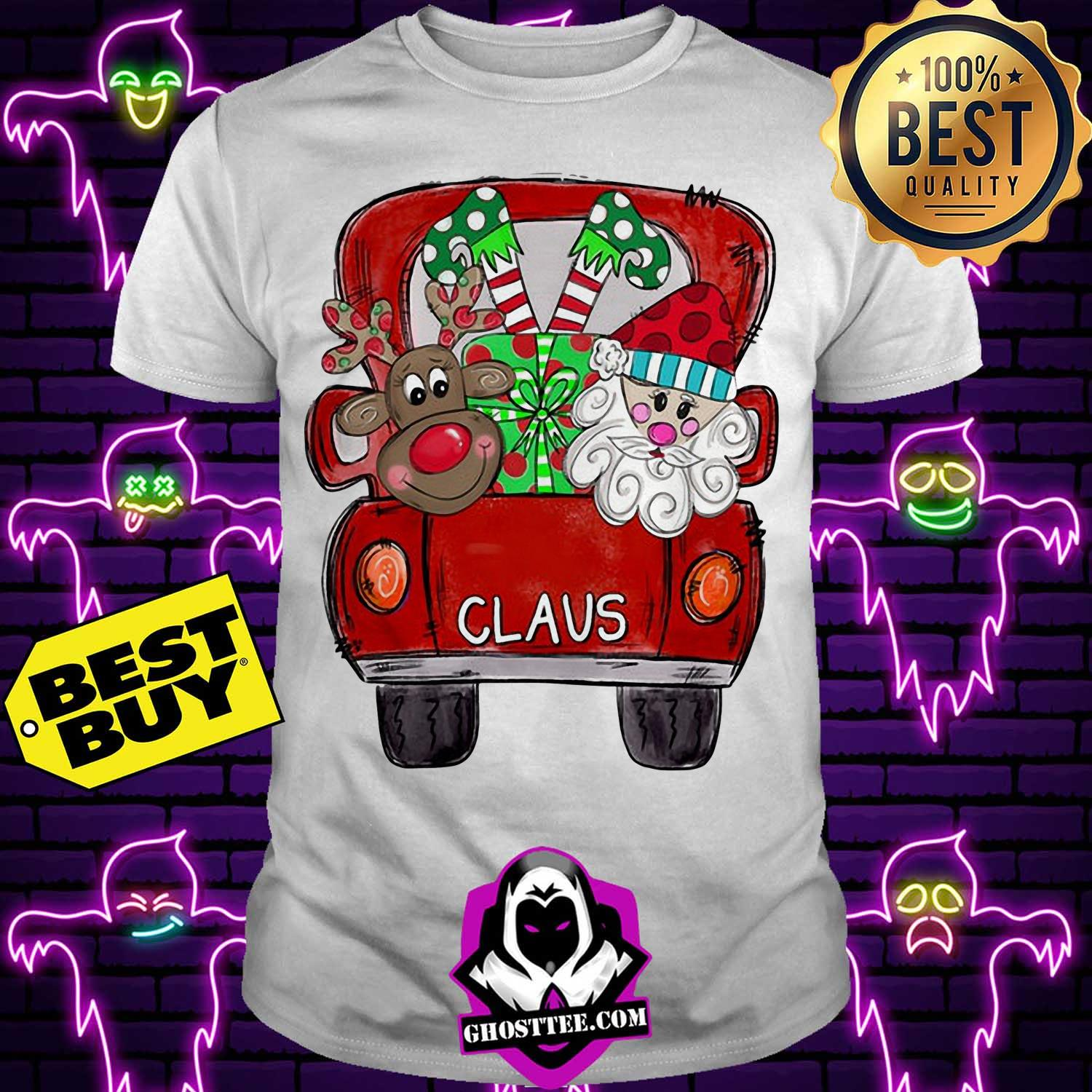 merry christmas with reindeer and santa claus on truck hoodie - Merry Christmas With Reindeer And Santa Claus On Truck Shirt
