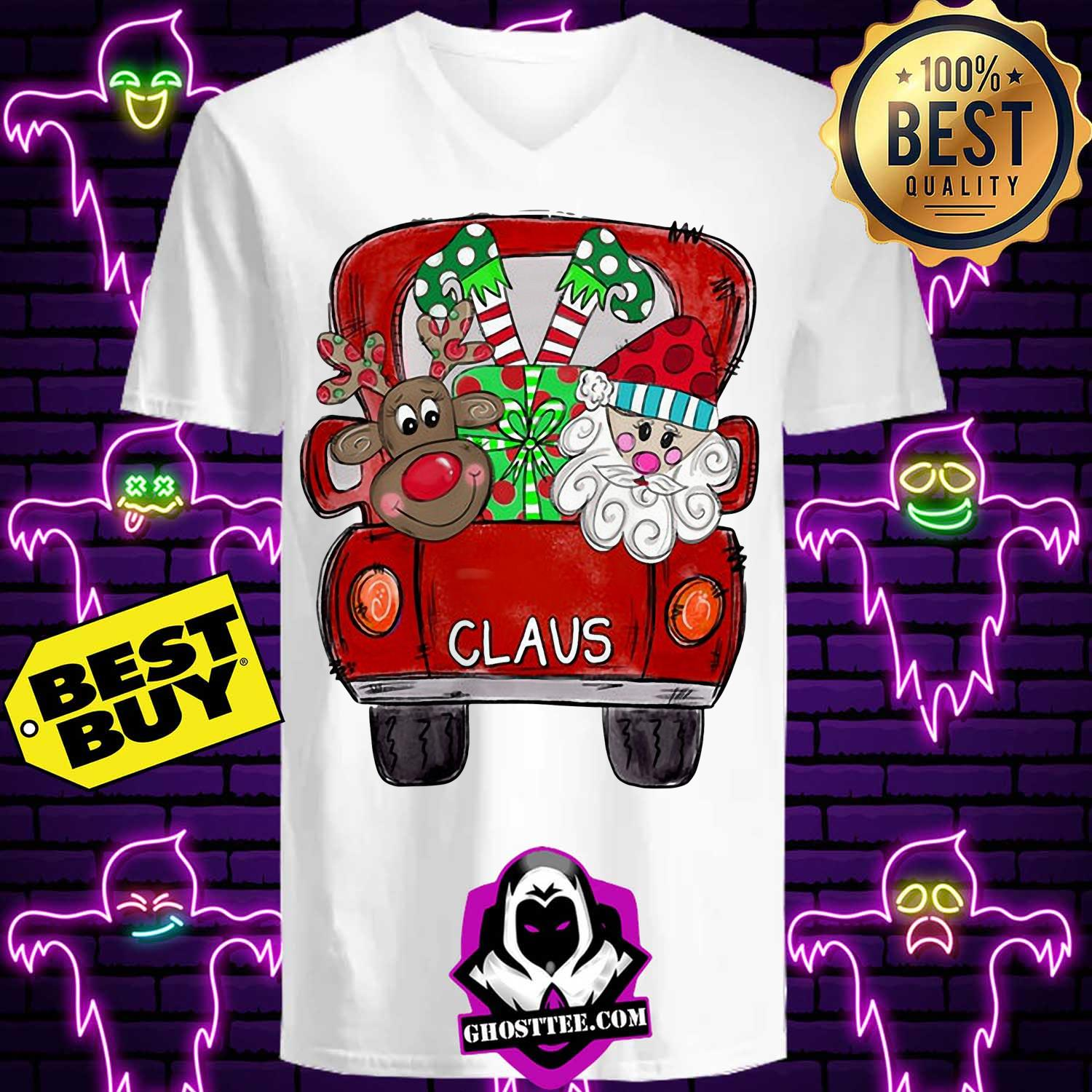 merry christmas with reindeer and santa claus on truck ladies tee - Merry Christmas With Reindeer And Santa Claus On Truck Shirt
