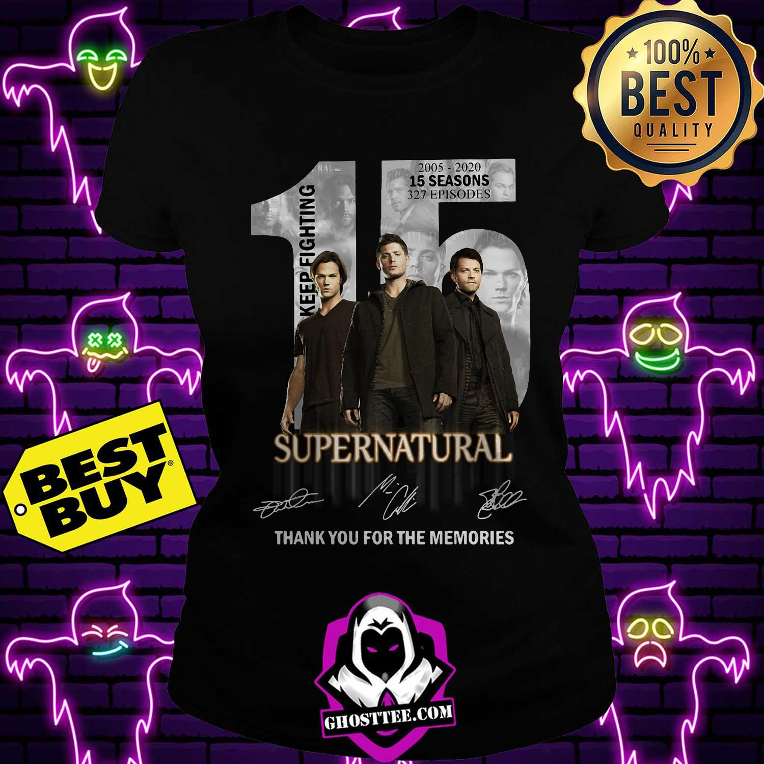 15 years of supernatural 2005 2020 15 seasons 237 episodes signature ladies tee 1 - 15 Years of Supernatural 2005 2020 15 Seasons 237 Episodes signature shirt sweater