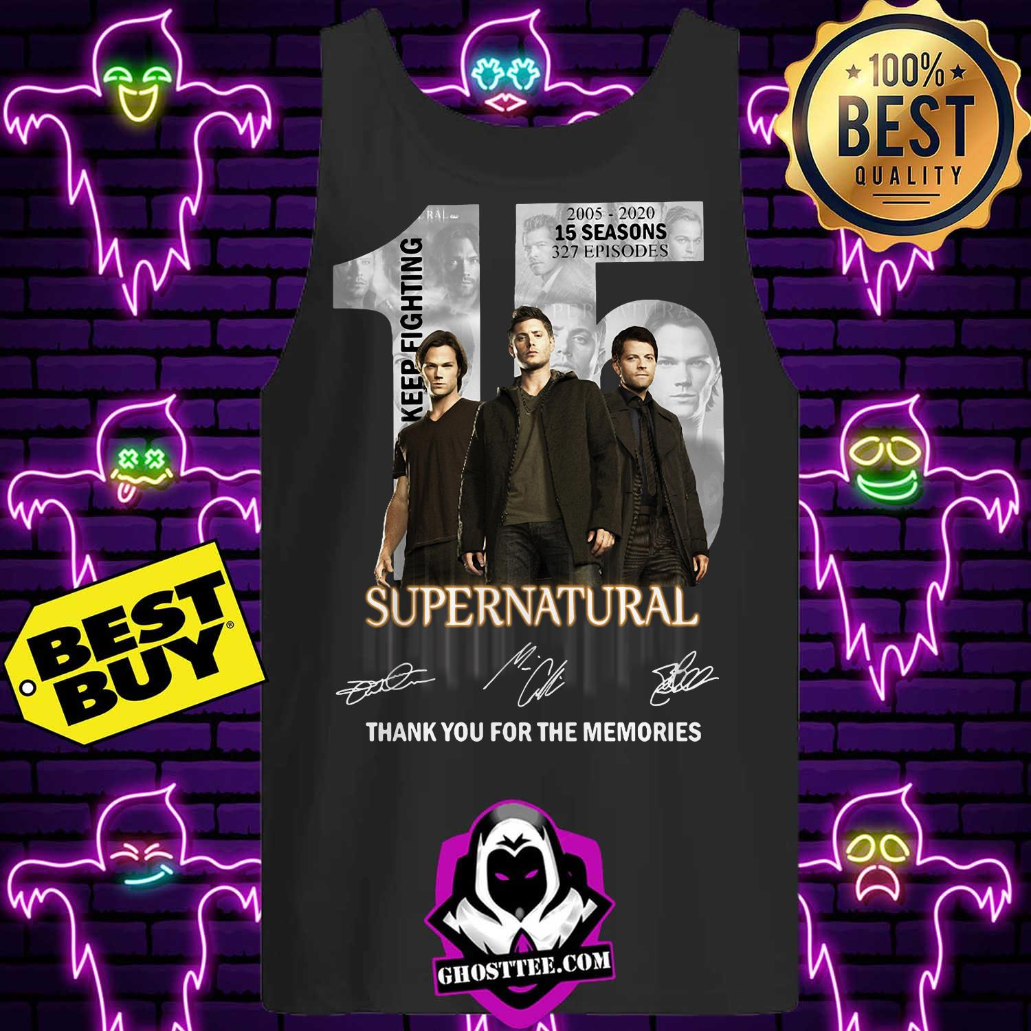15 years of supernatural 2005 2020 15 seasons 237 episodes signature tank top 1 - 15 Years of Supernatural 2005 2020 15 Seasons 237 Episodes signature shirt sweater