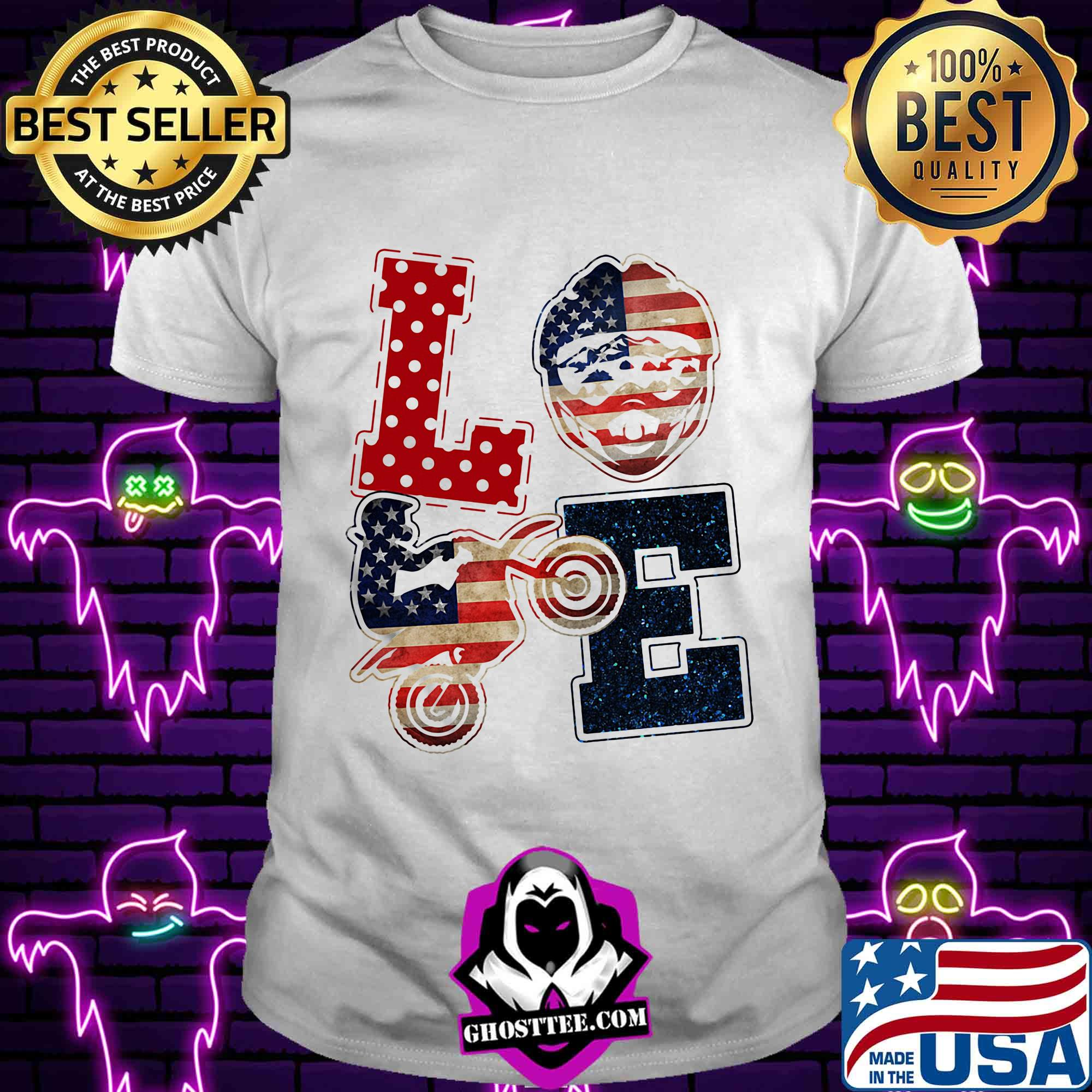 47049ba5 love motocross american flag veteran independence day shirt unisex tee - Home