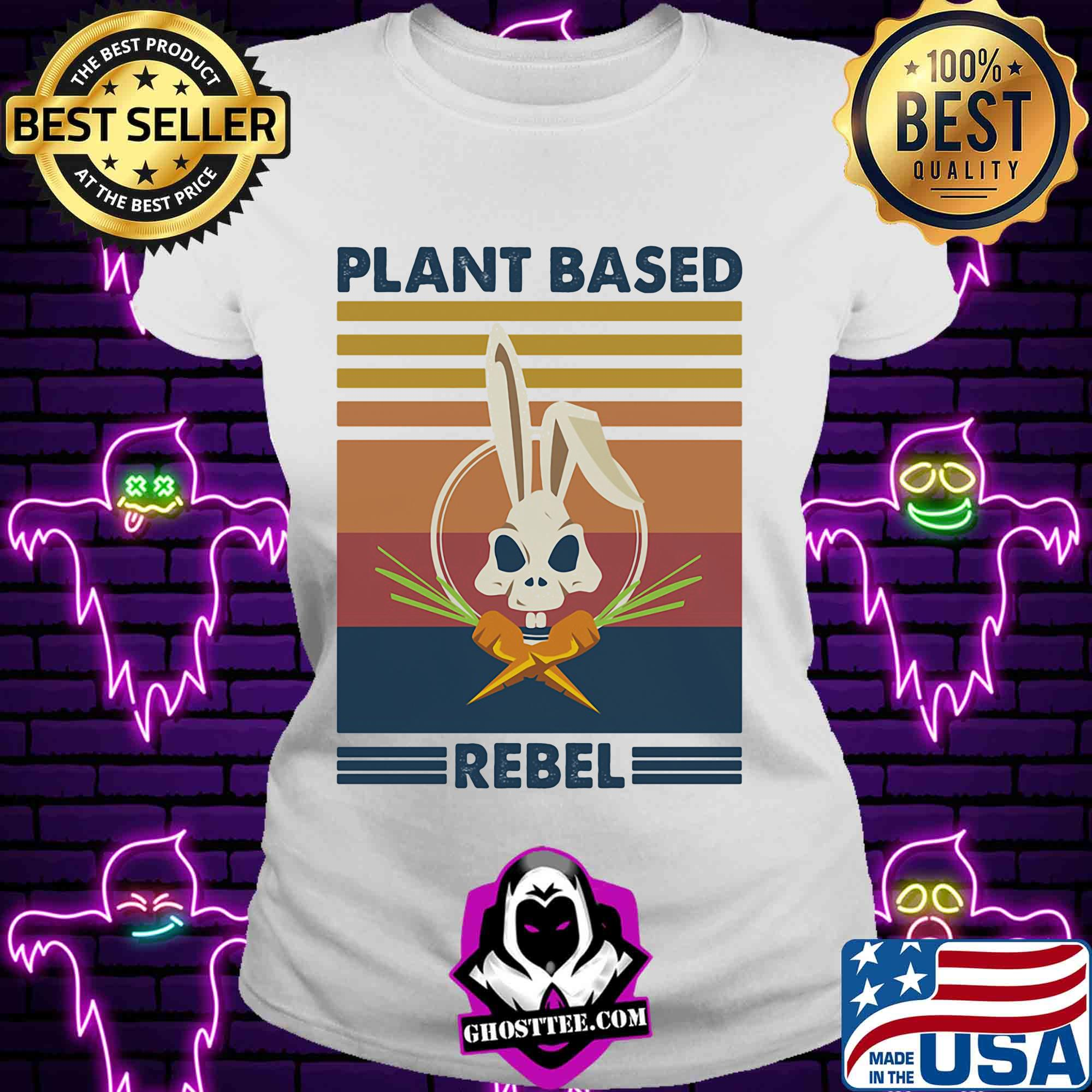 Bunny skull plant based rebel vintage shirt