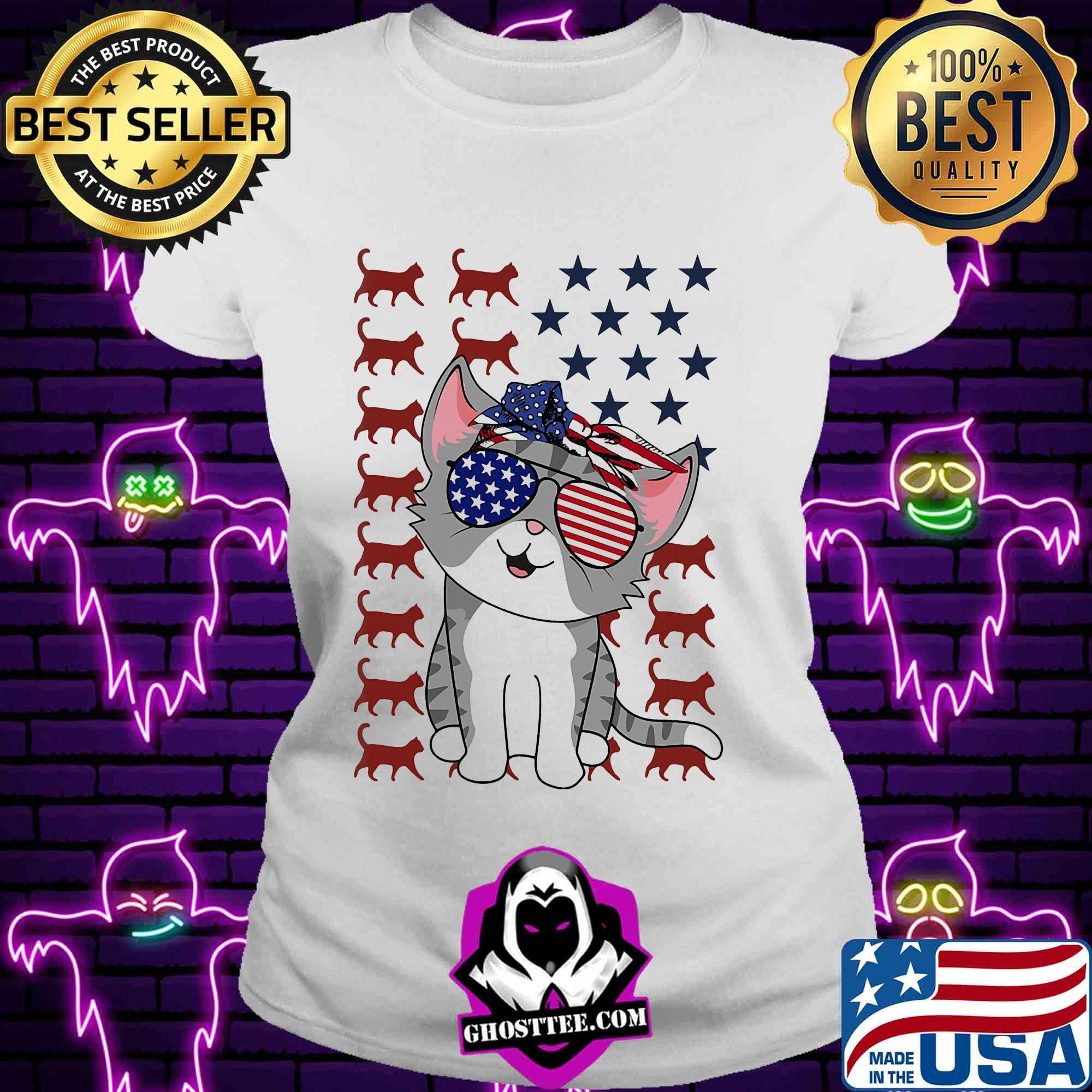 Cat American flag veteran Independence Day shirt