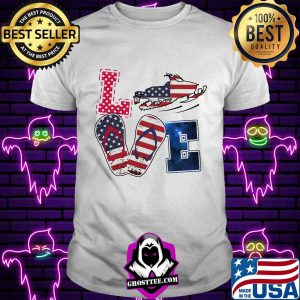 Love snowmobile sandals american flag independence day s Unisex tee