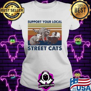 Support Your Local Street Cats Vintage Retro Shirt V-neck