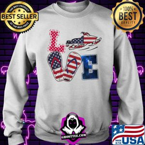 Love snowmobile sandals american flag independence day s Sweater