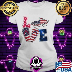 Love snowmobile sandals american flag independence day s V-neck