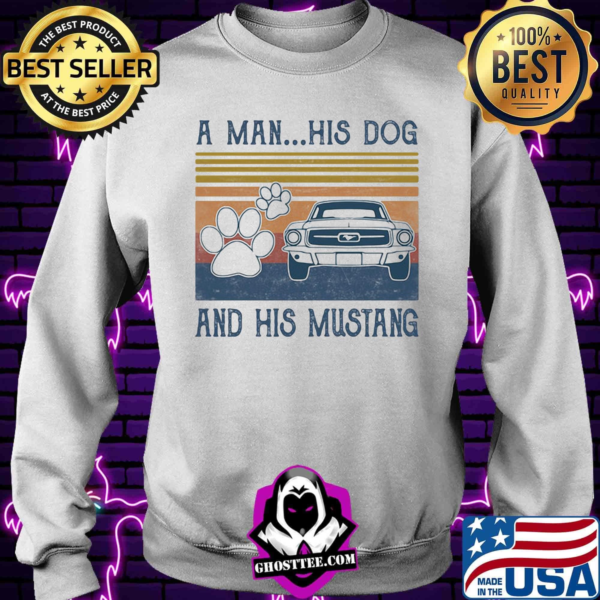 0d5233df a man his dog and his mustang footprint vintage retro shirt sweater - Home