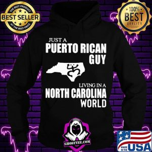 Just A Puerto Rican Guy Living In A North Carolina World Map Shirt