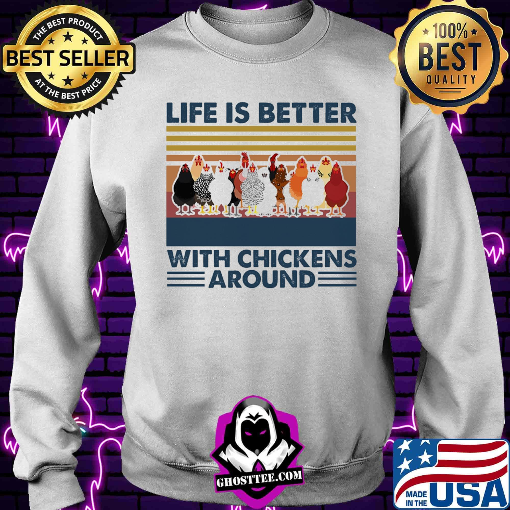 39036e70 life is better ith chichens around vintager tretrro shirt sweater - Home