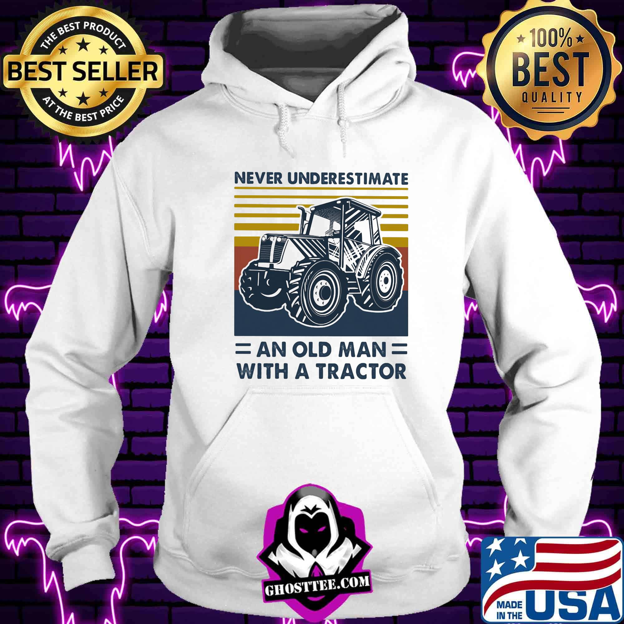 7ad6ce59 never underestimate an old man with an tractor vintage retro shirt hoodie - Home