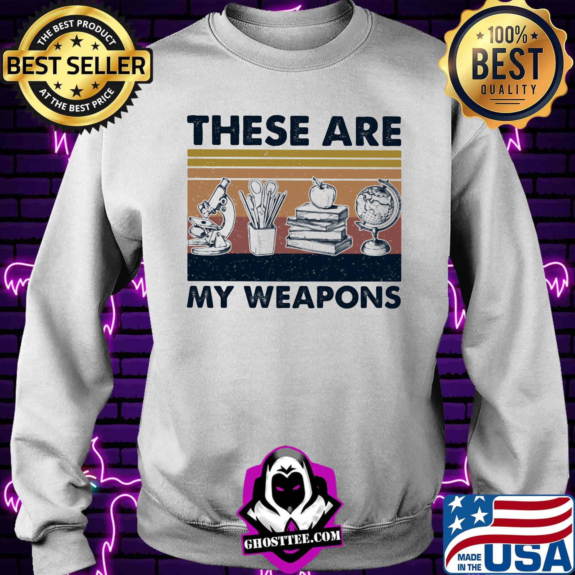 8543c116 these are my weapons microscope earth model pen box apple book vintage retro shirt sweater - Home