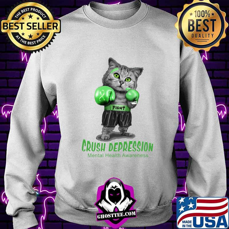 Cat boxing fight crush depression mental health awareness shirt