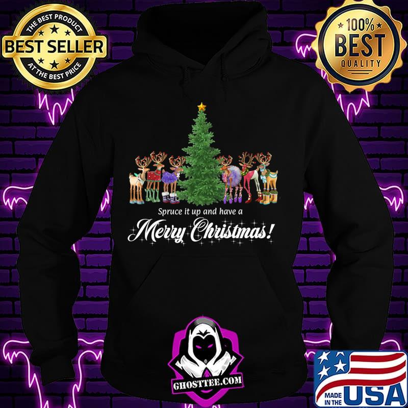 8e67111d whimsical reindeer spruce tree merry christmas t shirt hoodie - Home