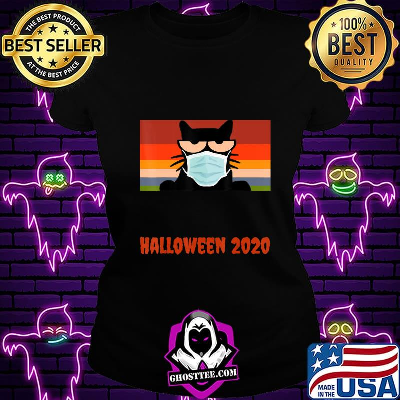 b21d2c80 halloween 2020 funny black cat with mask t shirt ladiestee - Home