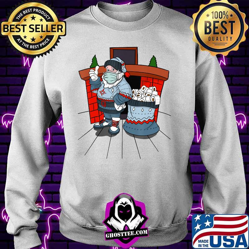 Santa with ugly sweater mask and a bag full of toilet paper T-Shirt