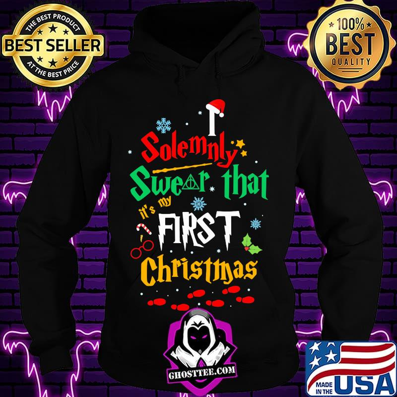 938ce9da solemnly swear it s my that first christmas hat santa shirt hoodie - Home