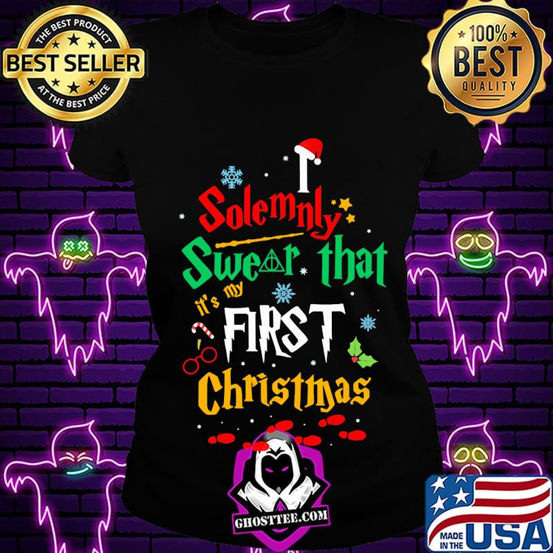 ea7f8456 solemnly swear it s my that first christmas hat santa shirt ladiestee - Home