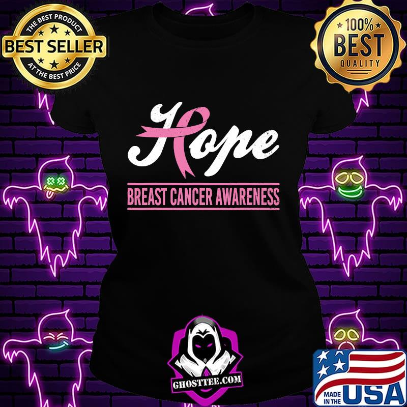 Hope Breast Cancer Awareness Survivor Pink Ribbon Support Shirt Ladiestee
