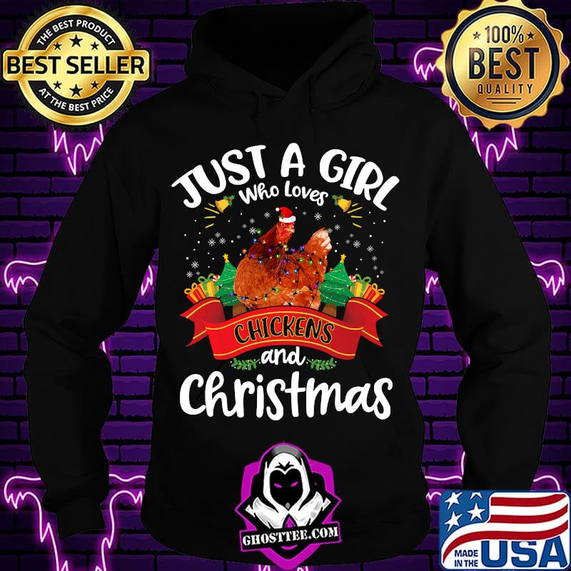 b0cfdd38 just a girl who loves chickens and christmas tree xmas shirt hoodie - Home