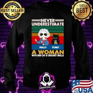 Girl And Black Cat Never Underestimate A Woman With Cats And Crochet Vintage Sweatshirt