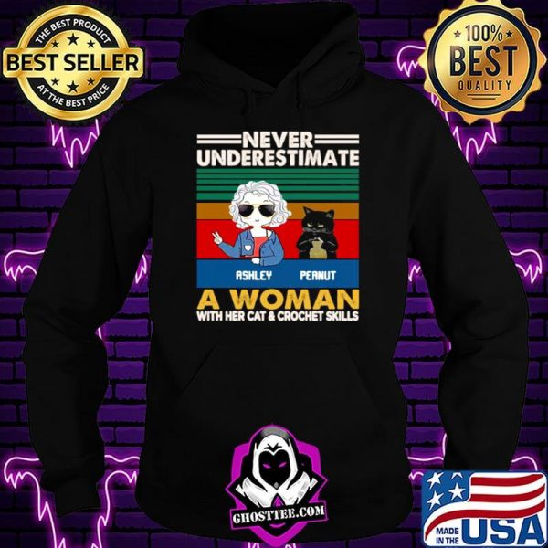 Girl And Black Cat Never Underestimate A Woman With Cats And Crochet Vintage shirt