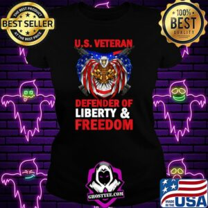 US Veteran Defender Of Liberty And Freedom 4th Of July Eagle T-Shirt Ladiestee