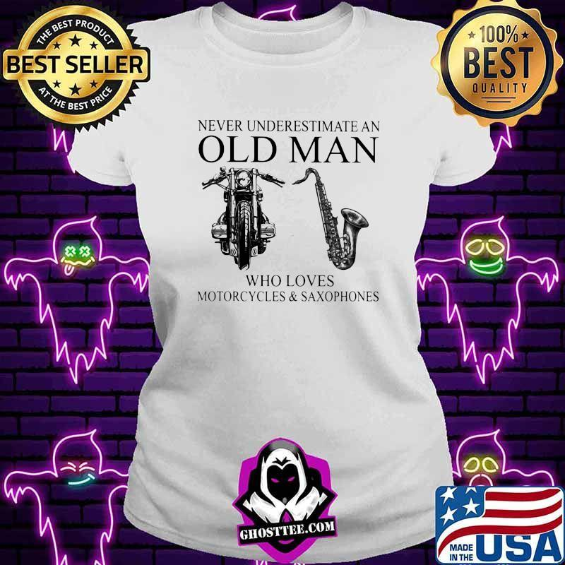Never Underestimate An Old Man Who Loves Motorcycles And Saxophones Shirt V-neck