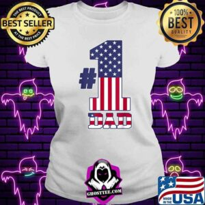 Fathers Day Patriotic Number 1 Dad American Flag T-Shirt V-neck