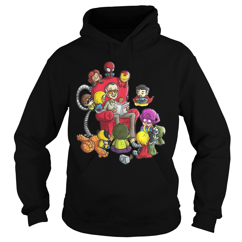 stan lee reading book comic to avengers hero hoodie - Size Guide