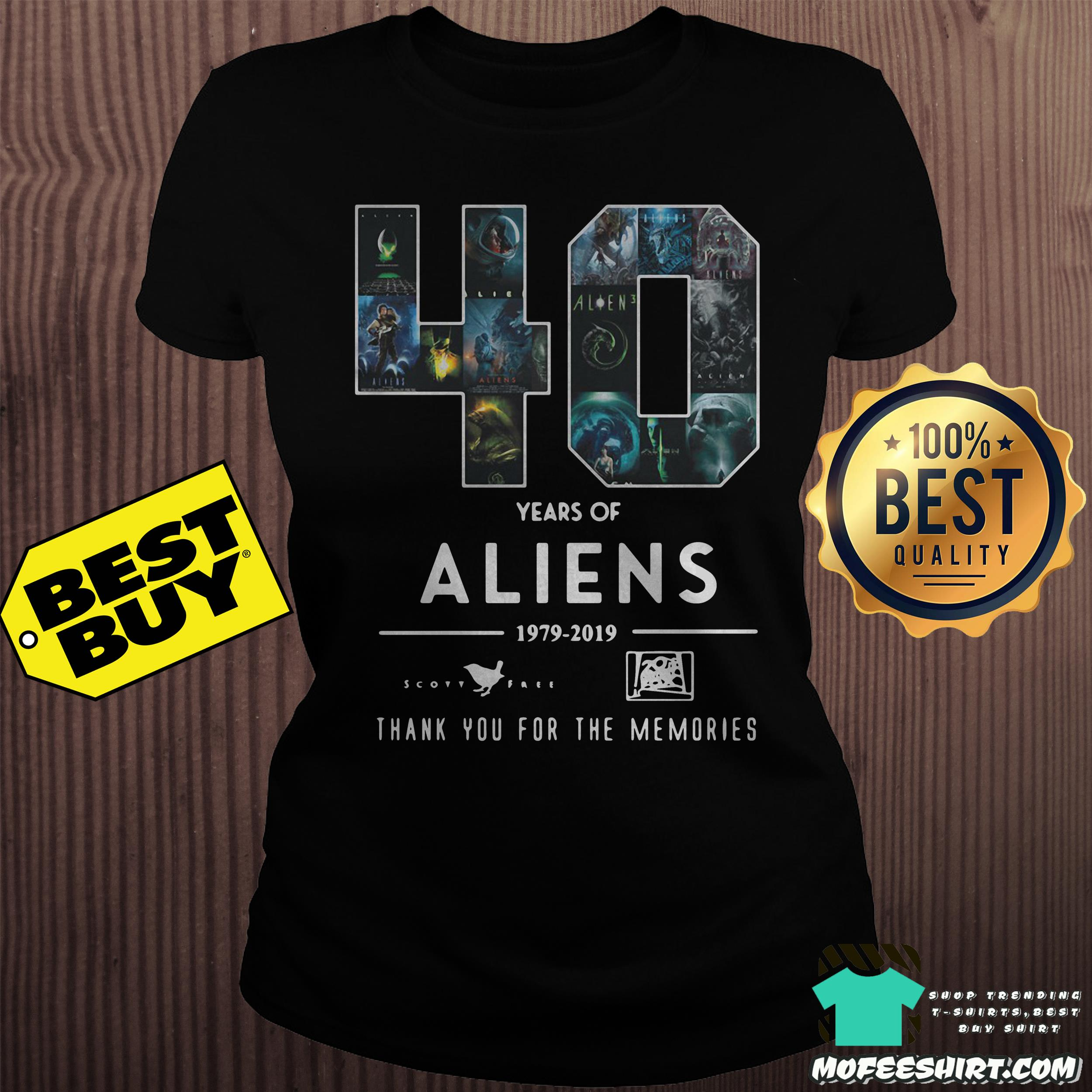 40 years of aliens 1979 2019 thank you for the memories ladies tee 1 - 40 years of aliens 1979-2019 thank you for the memories shirt