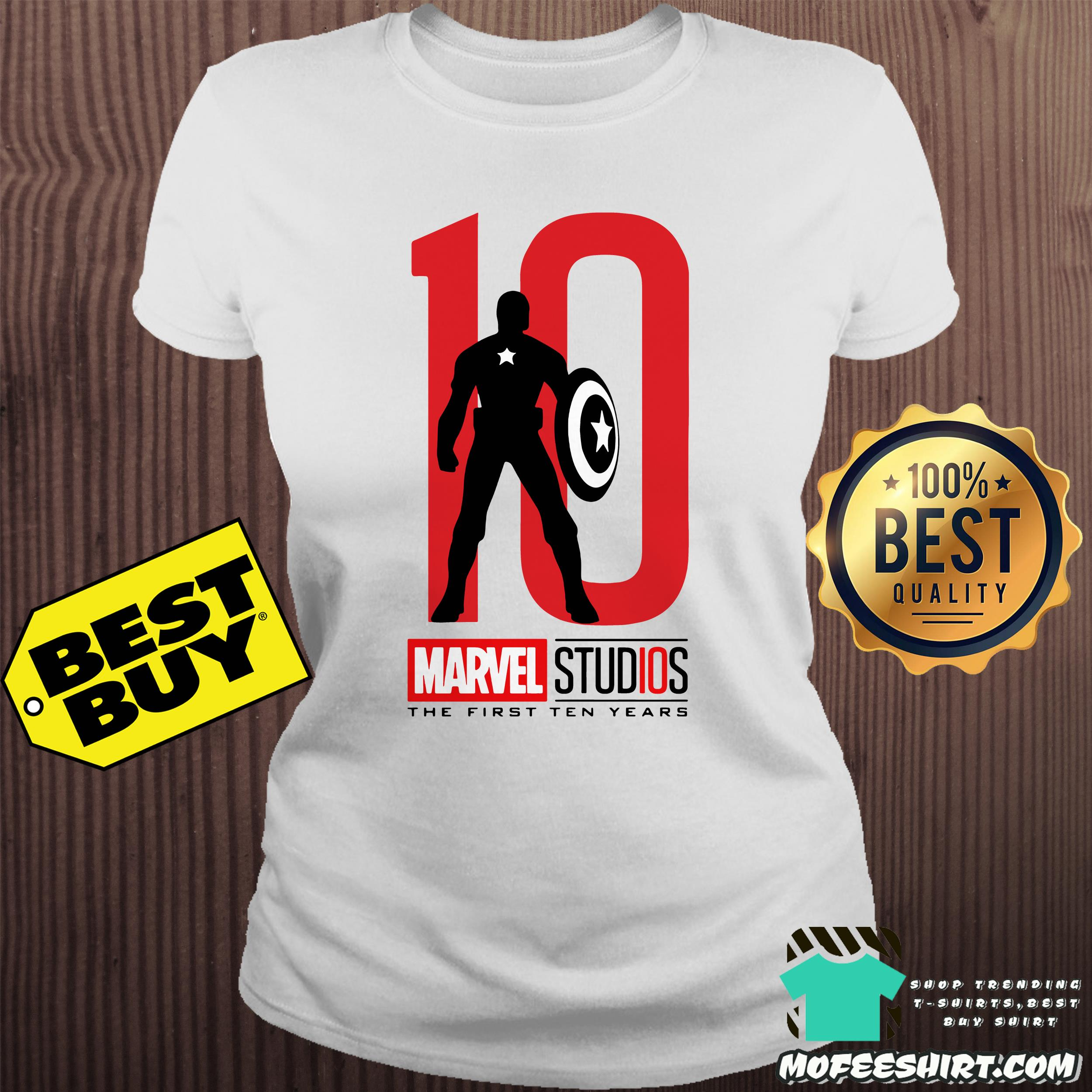 captain america marvel studios the first ten years ladies tee - Captain America Marvel studios the first ten years shirt