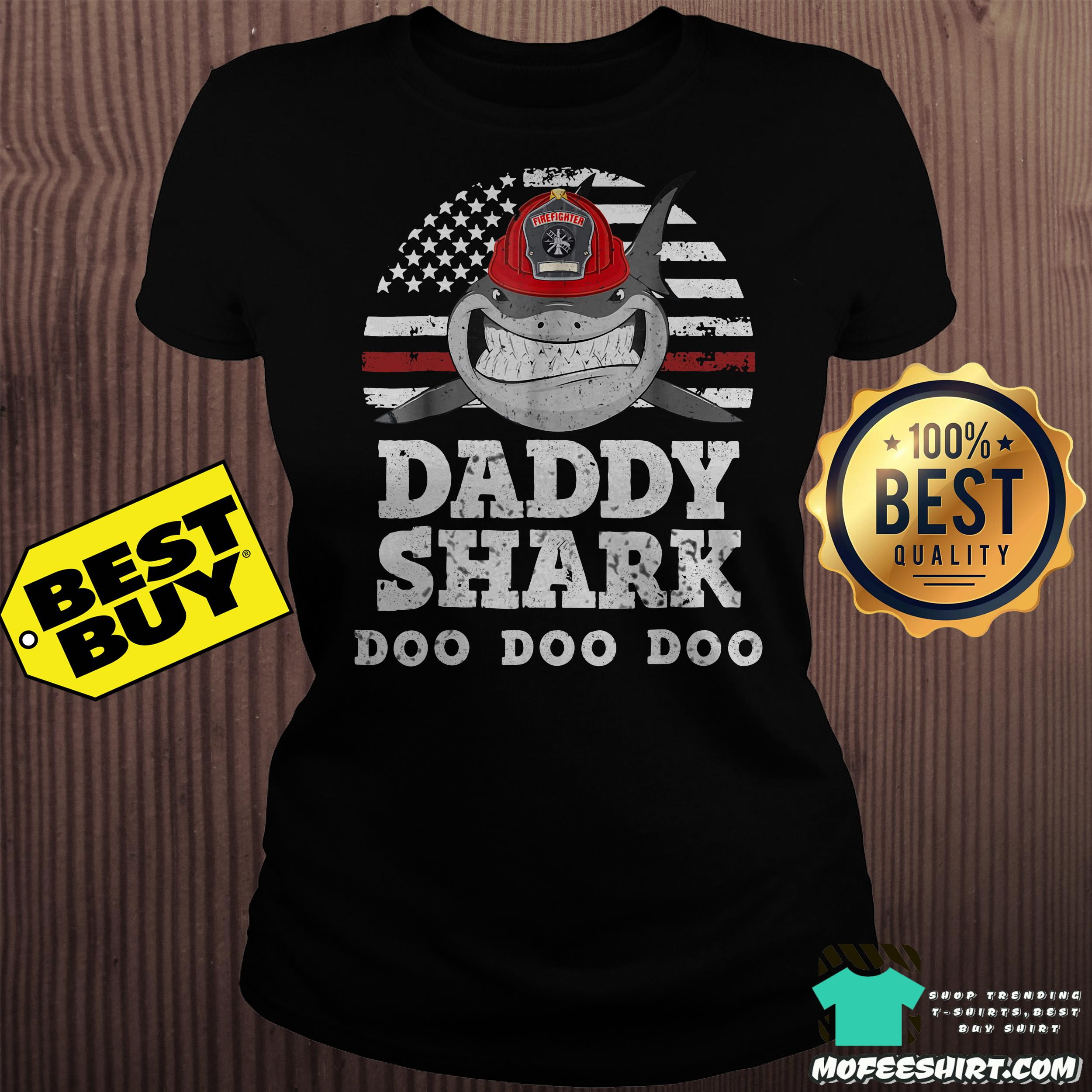 firefighter daddy shark doo doo doo vintage ladies tee - Firefighter daddy shark doo doo doo vintage shirt