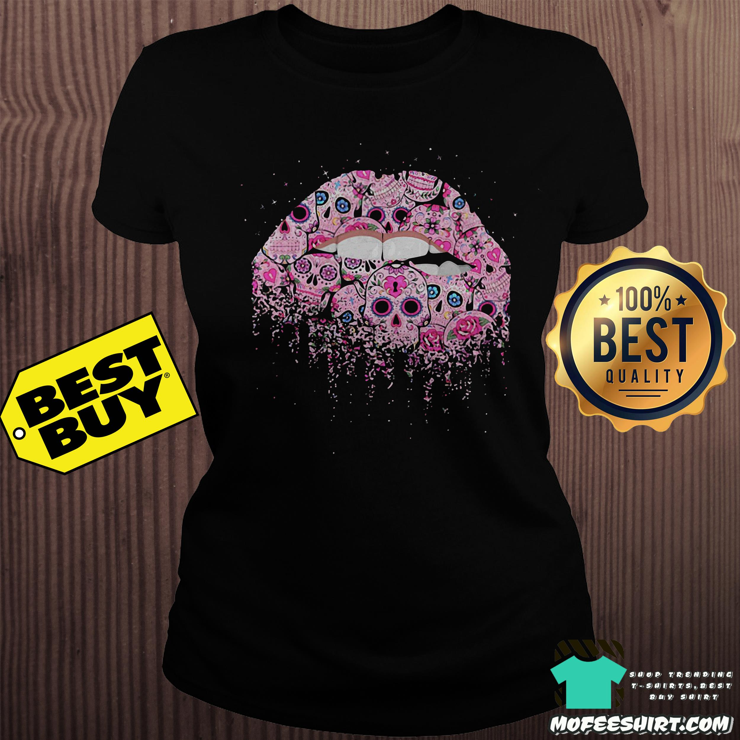 sugar skull lips pink ladies tee - Sugar skull lips pink shirt