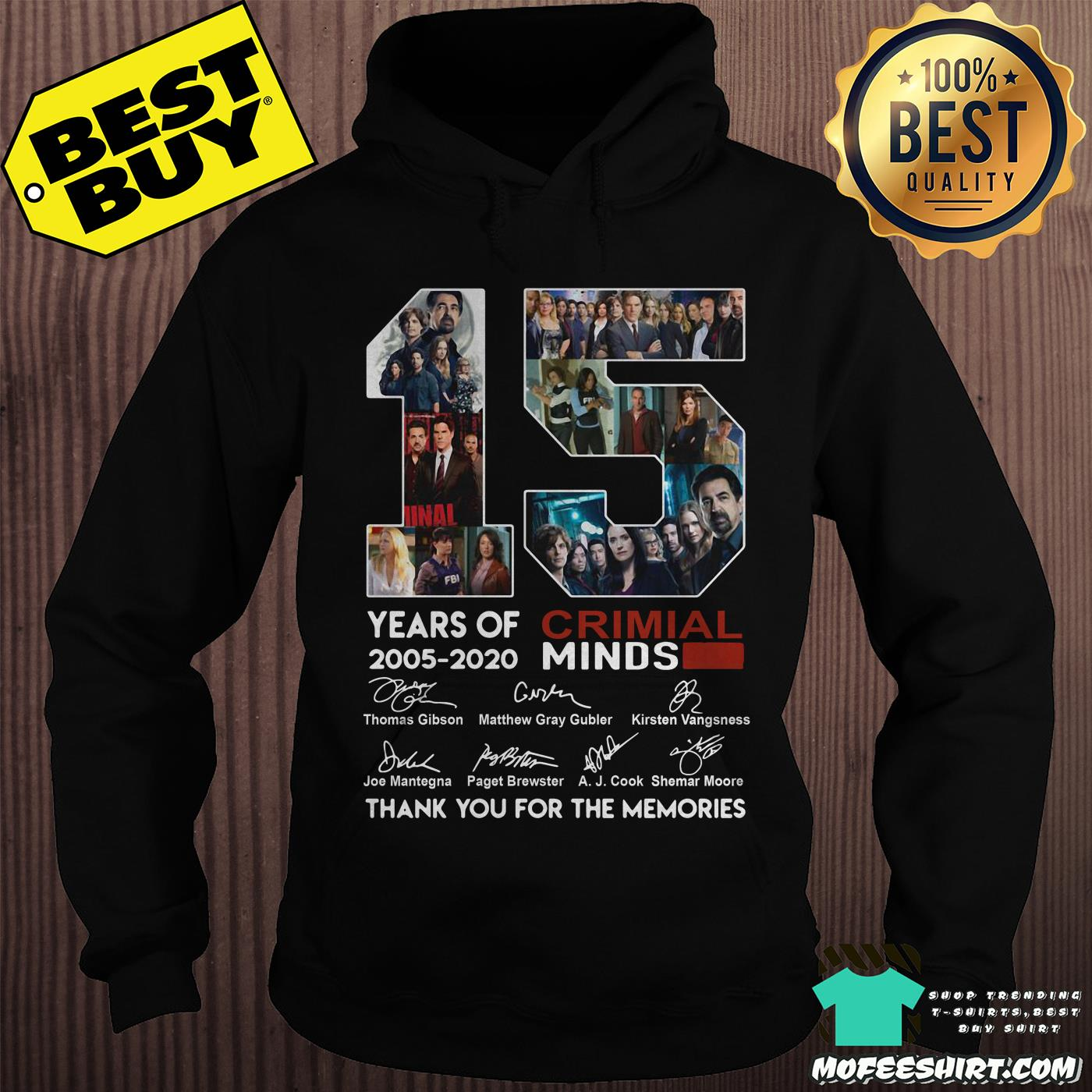 15 years of criminal minds 2005 2020 thank you for the memories hoodie - 15 years of Criminal Minds 2005-2020 thank you for the memories signature shirt