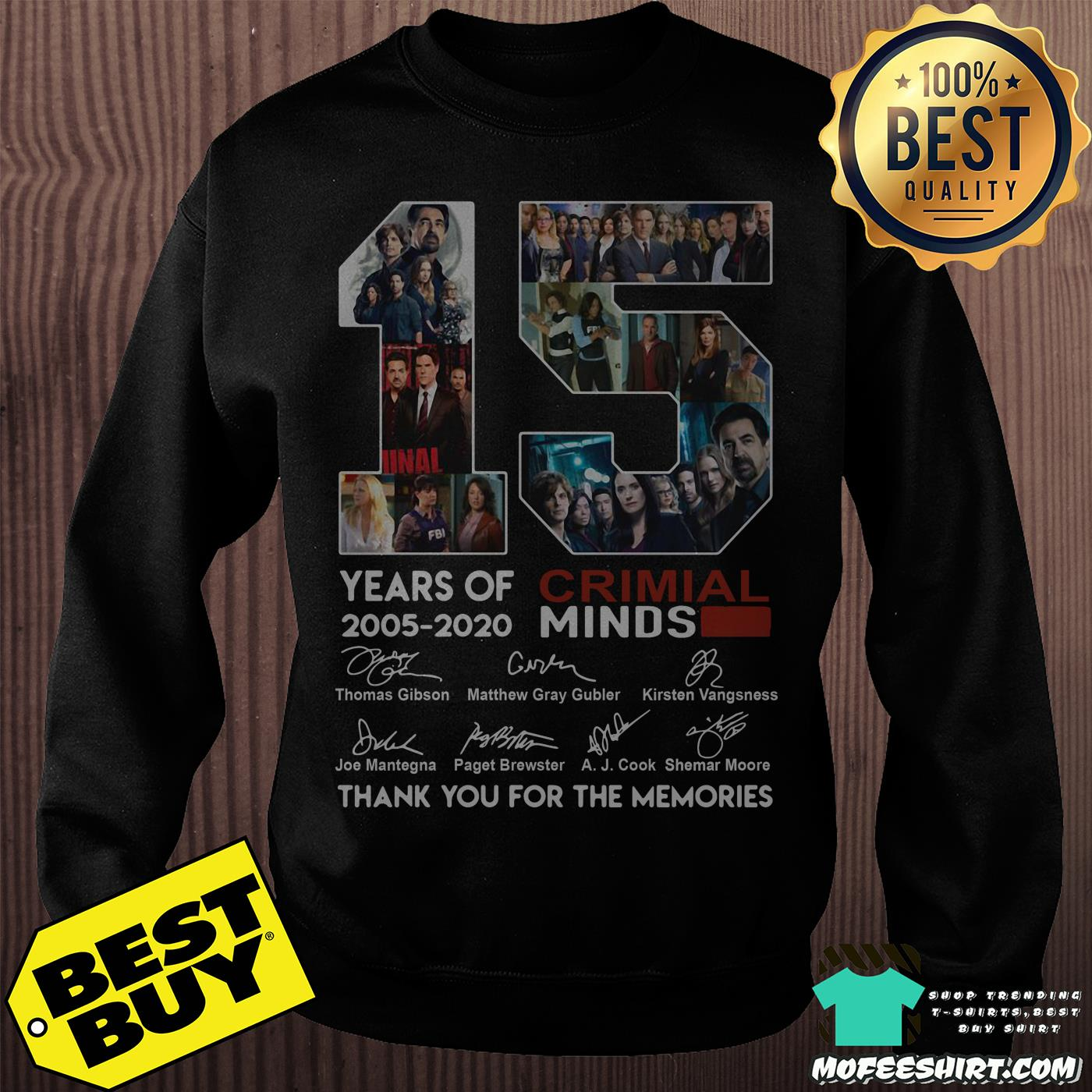 15 years of criminal minds 2005 2020 thank you for the memories sweatshirt - 15 years of Criminal Minds 2005-2020 thank you for the memories signature shirt