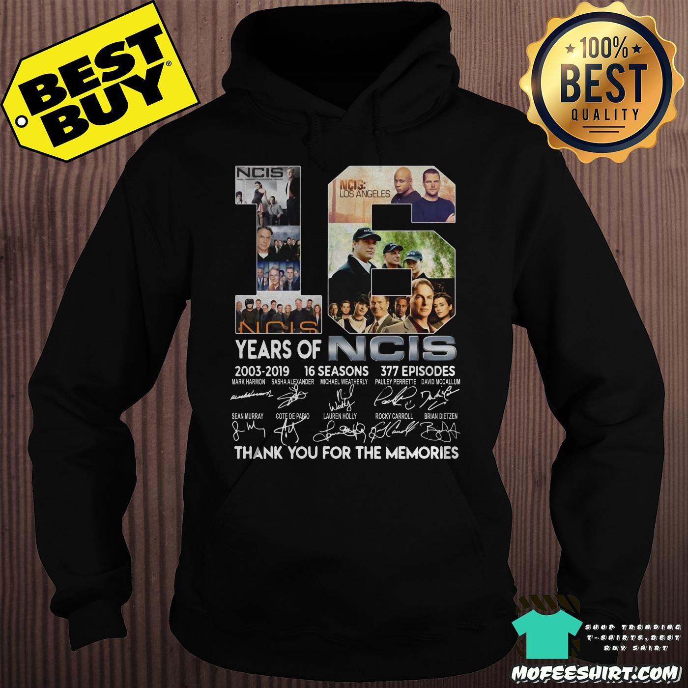 16 years of ncis 2003 2019 16 seasons 377 episodes signatures hoodie - 16 years of NCIS 2003-2019 16 Seasons 377 Episodes signatures shirt