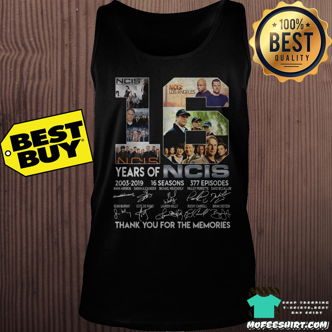 16 years of ncis 2003 2019 16 seasons 377 episodes signatures tank top - 16 years of NCIS 2003-2019 16 Seasons 377 Episodes signatures shirt