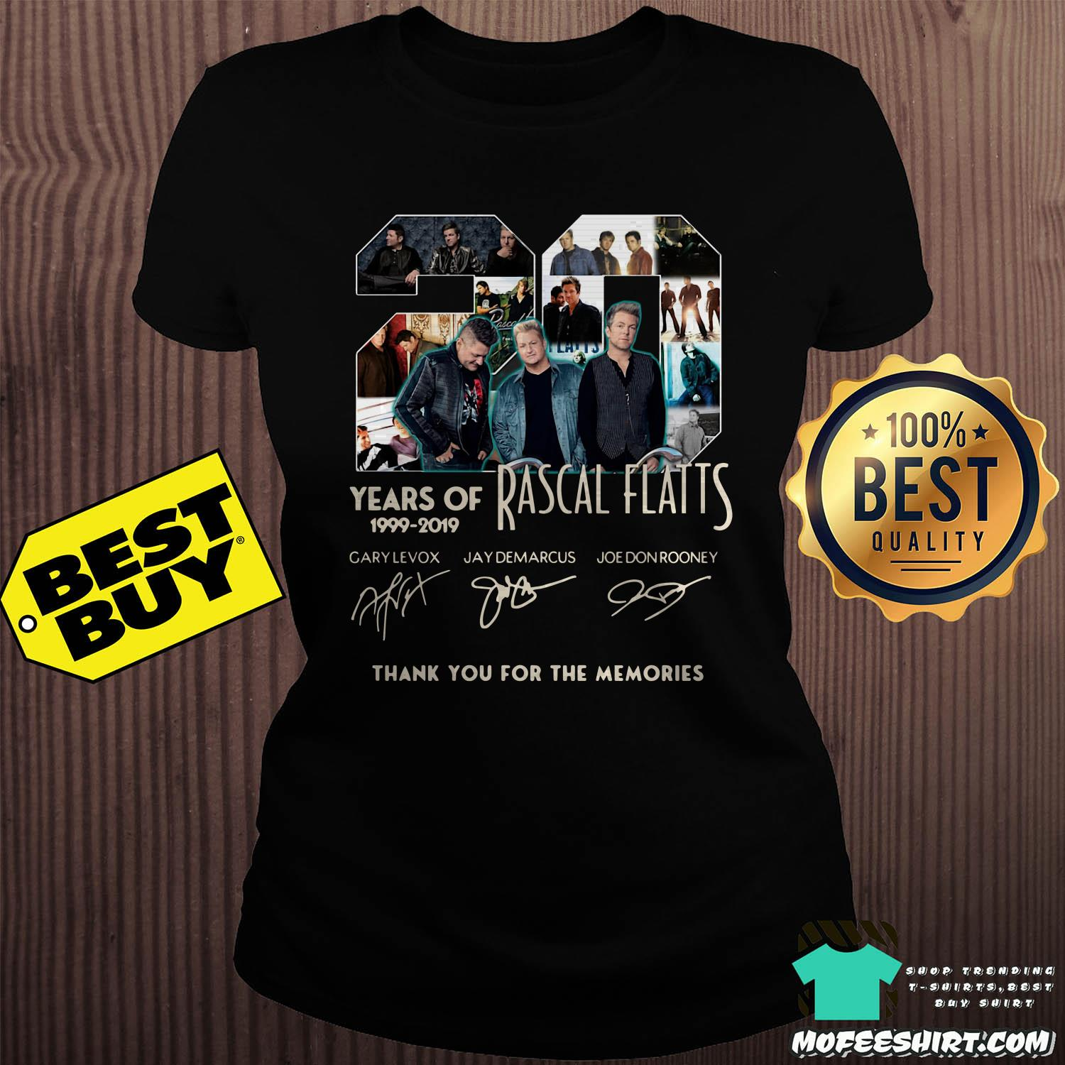 20 years of rascal flatts 1999 2019 thank you for the memories signature ladies tee - 20 Years of Rascal Flatts 1999-2019 thank you for the memories signature shirt