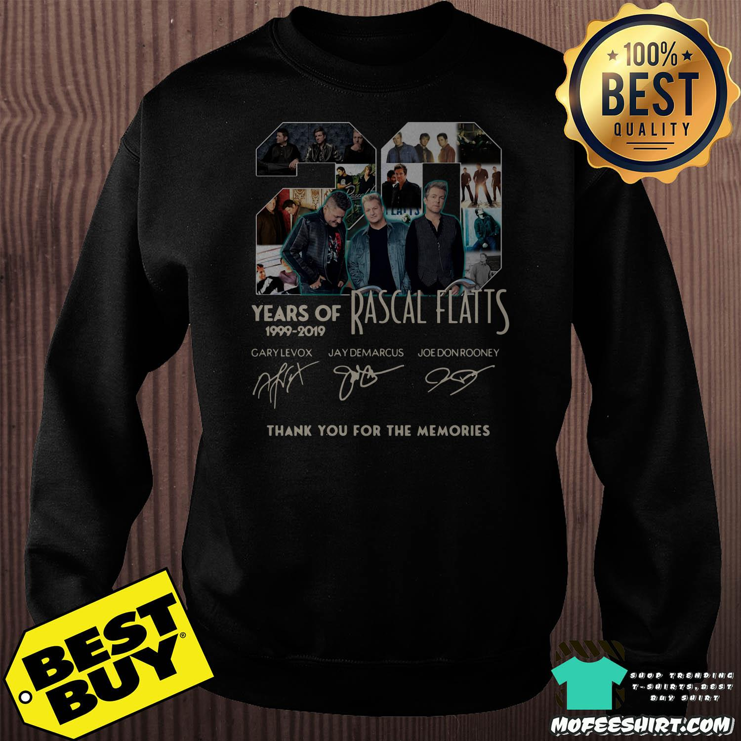 20 years of rascal flatts 1999 2019 thank you for the memories signature sweatshirt - 20 Years of Rascal Flatts 1999-2019 thank you for the memories signature shirt
