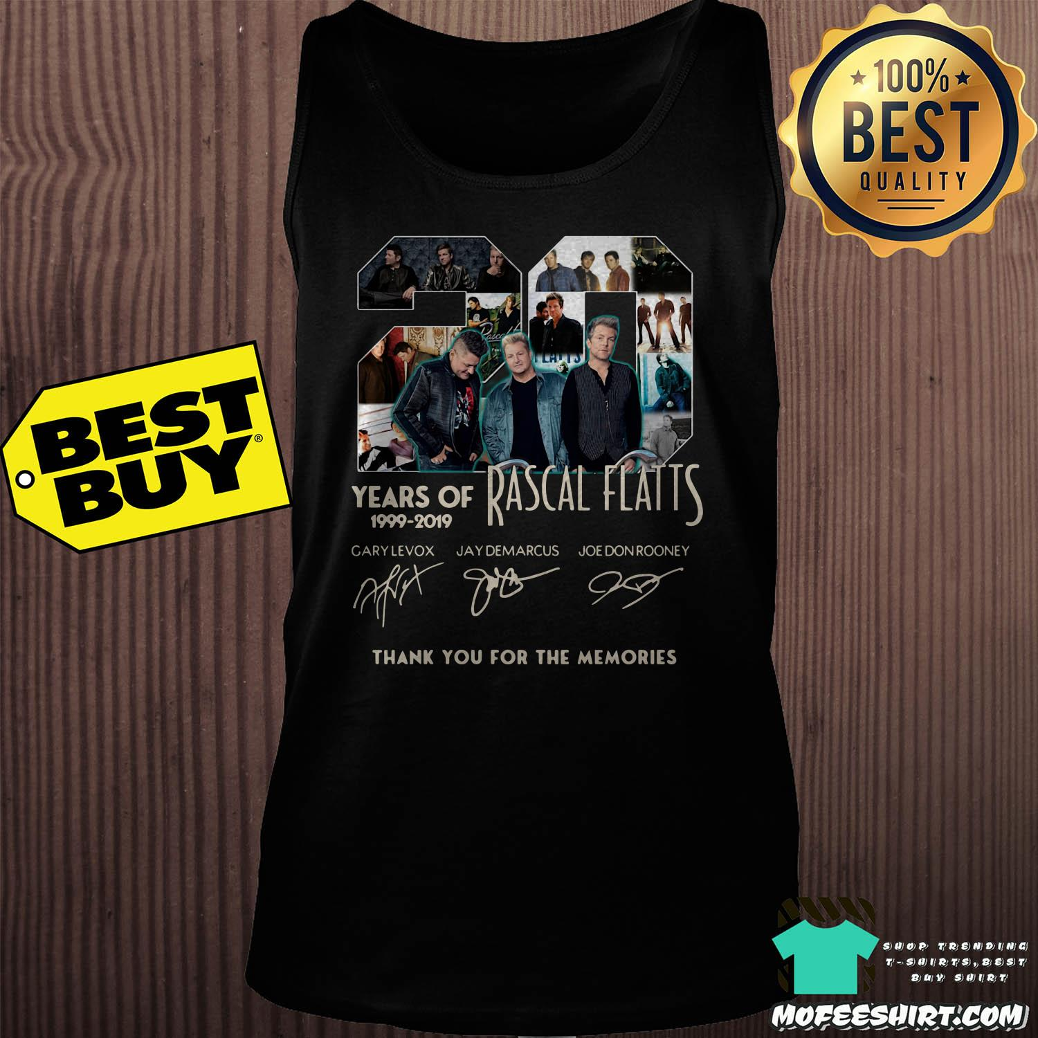 20 years of rascal flatts 1999 2019 thank you for the memories signature tank top - 20 Years of Rascal Flatts 1999-2019 thank you for the memories signature shirt