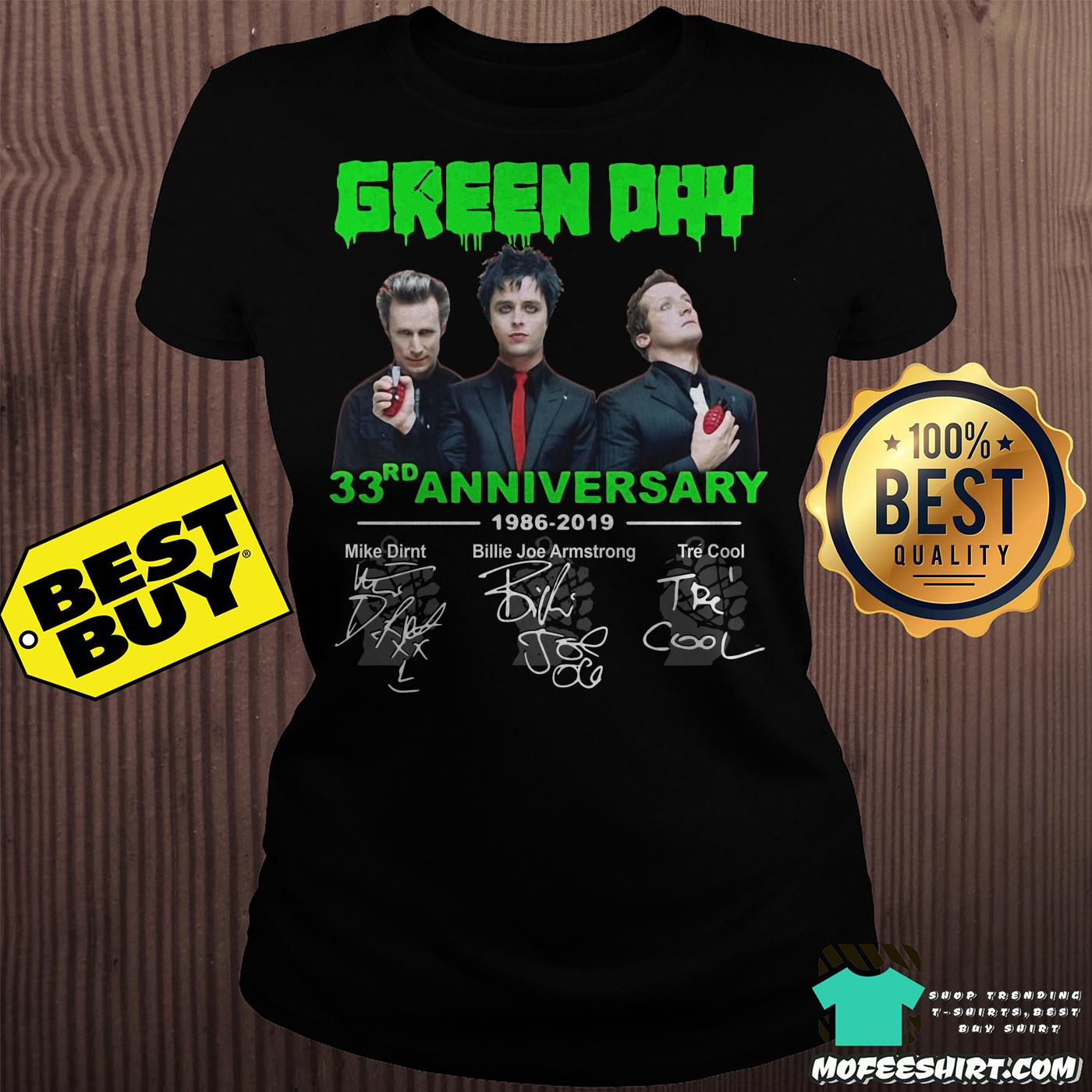green day 33th anniversary 1986 2019 signatures ladies tee - Green Day 33rd Anniversary 1986-2019 signatures shirt