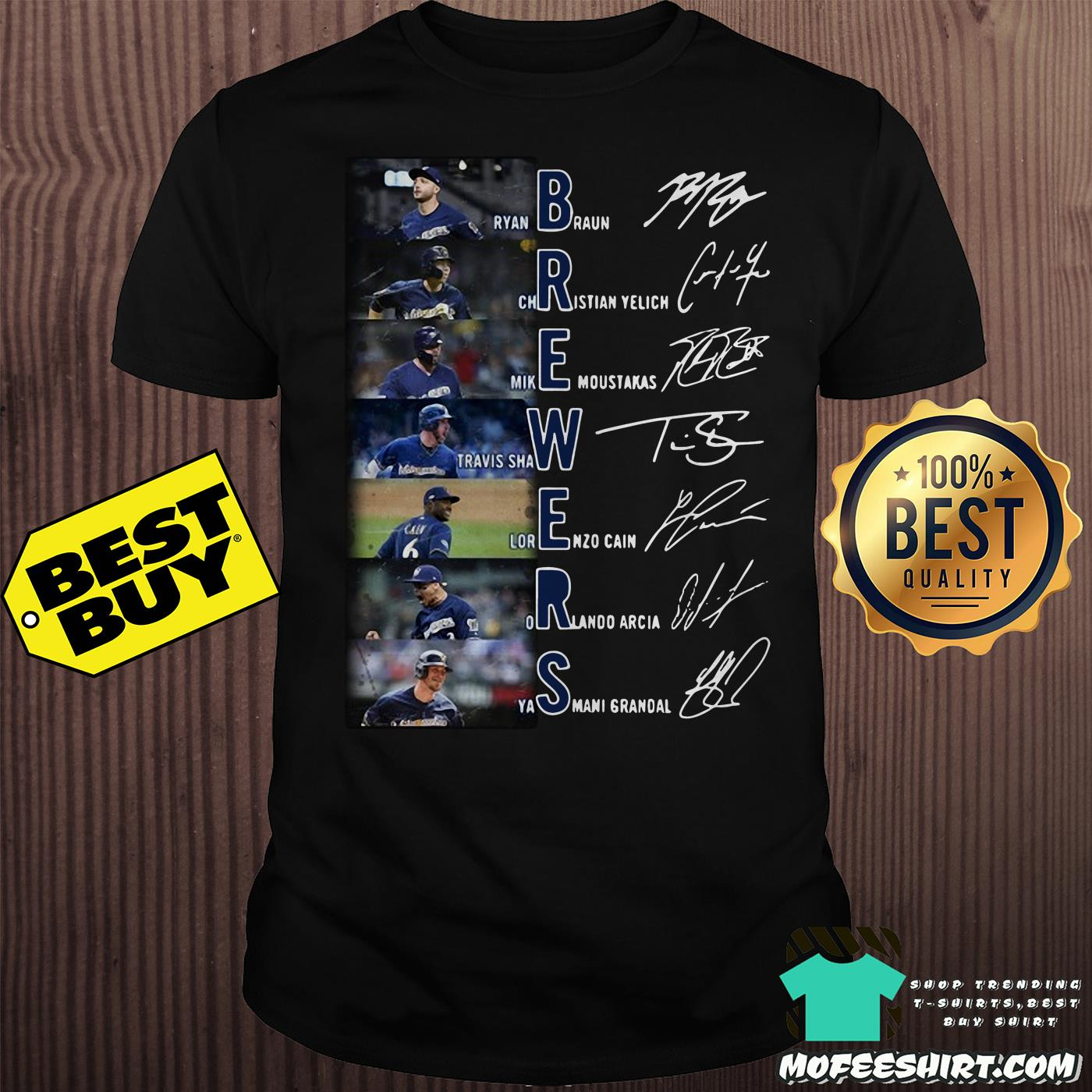 Milwaukee Brewers Ryan Braun Christian Yelich Mike Moustakas signatures shirt